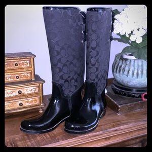 GUC black coach rain boots size 7